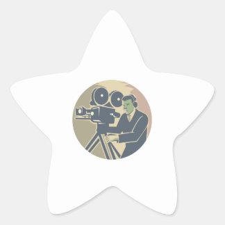 Cameraman Moviemaker Vintage Camera Retro Star Sticker