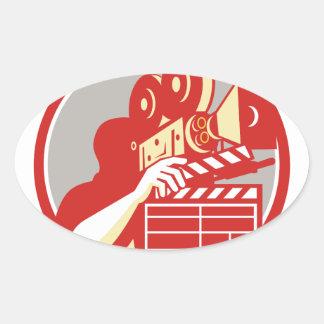 Cameraman Vintage Film Movie Camera Clapboard Retr Oval Sticker
