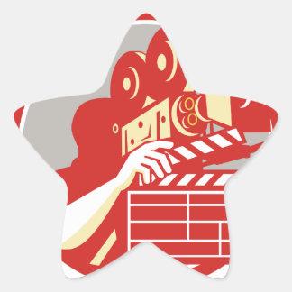Cameraman Vintage Film Movie Camera Clapboard Retr Star Sticker