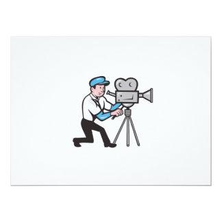 Cameraman Vintage Film Movie Camera Side Cartoon 6.5x8.75 Paper Invitation Card