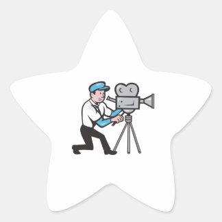 Cameraman Vintage Film Movie Camera Side Cartoon Star Sticker