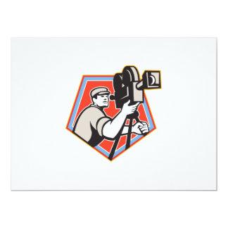 Cameraman Vintage Film Reel Camera Retro 6.5x8.75 Paper Invitation Card