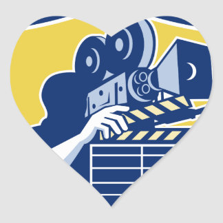 Cameraman Vintage Movie Camera Clapboard Shield Re Heart Sticker