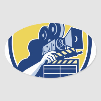 Cameraman Vintage Movie Camera Clapboard Shield Re Oval Sticker