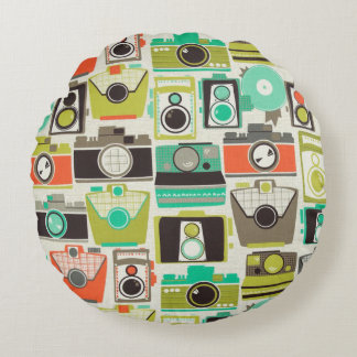 Cameras Retro Round Pillow