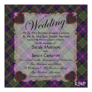 """Cameron del tartán escocés del clan de Erracht - Invitación 5.25"""" X 5.25"""""""