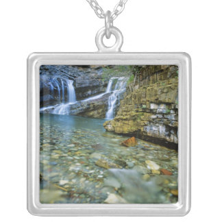 Cameron Falls in Waterton Lakes National Park in Silver Plated Necklace