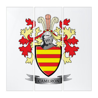 Cameron Family Crest Coat of Arms Triptych