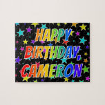 "[ Thumbnail: ""Cameron"" First Name, Fun ""Happy Birthday"" Jigsaw Puzzle ]"