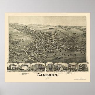 Cameron, mapa panorámico de WV - 1899 Póster