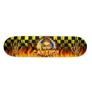 Cameron skull real fire and flames skateboard