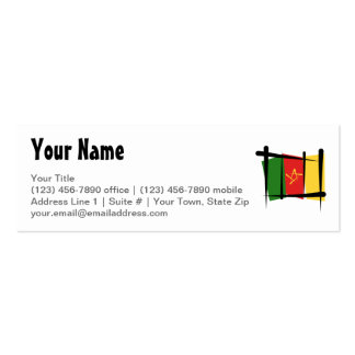 Cameroon Brush Flag Double-Sided Mini Business Cards (Pack Of 20)