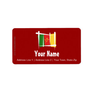 Cameroon Brush Flag Label