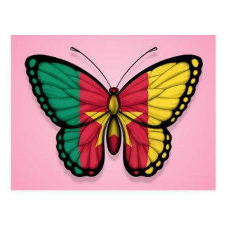 Cameroon Butterfly Flag on Pink Postcard