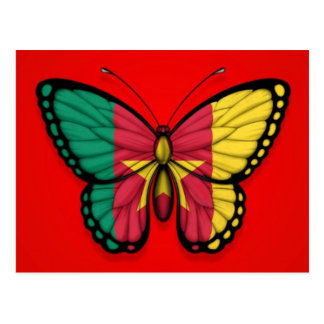 Cameroon Butterfly Flag on Red Postcard