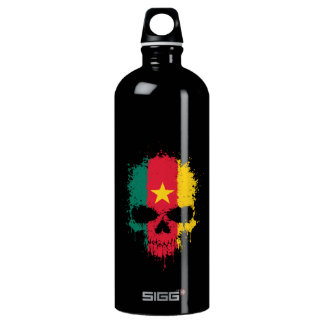 Cameroon Dripping Splatter Skull Water Bottle