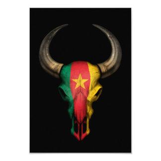 Cameroon Flag Bull Skull on Black Card