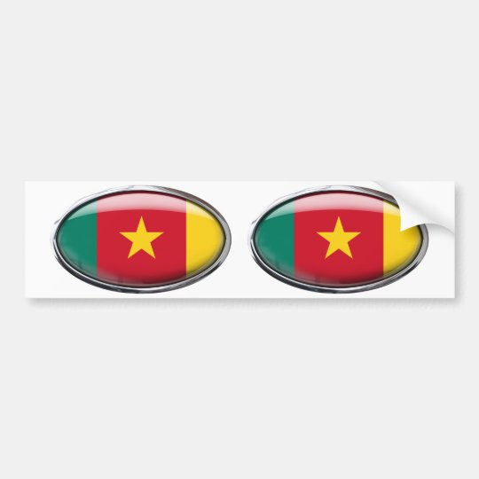 Cameroon Flag Glass Oval Bumper Sticker