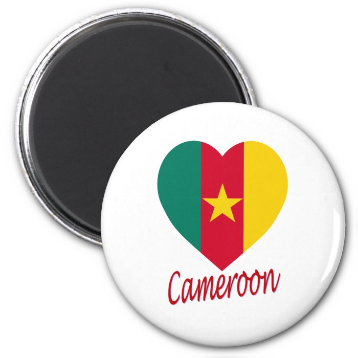 Cameroon Flag Heart 2 Inch Round Magnet