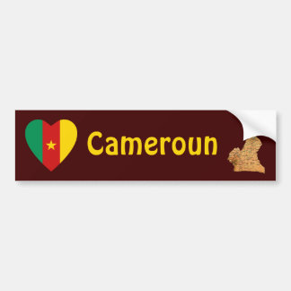 Cameroon Flag Heart + Map Bumper Sticker