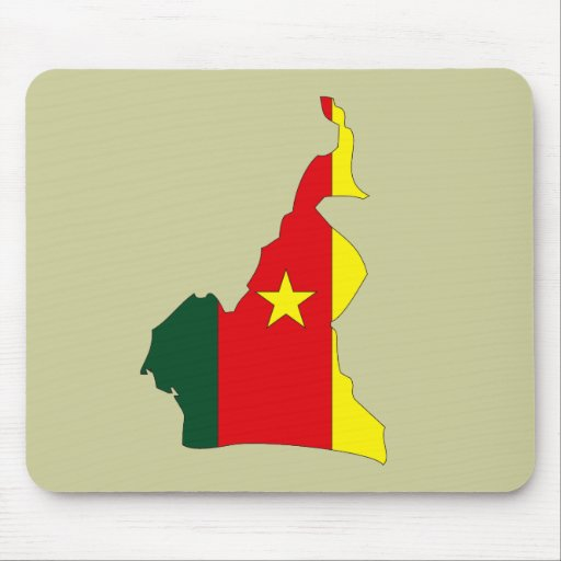 Cameroon flag map mouse mat