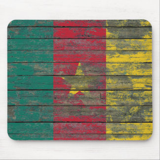 Cameroon Flag on Rough Wood Boards Effect Mouse Pad