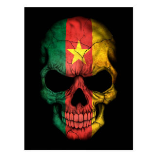 Cameroon Flag Skull on Black Postcard