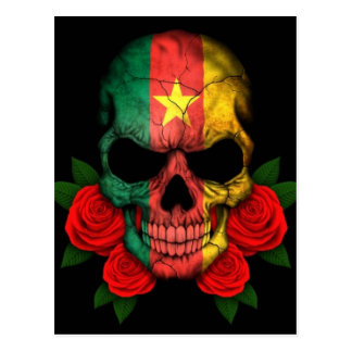 Cameroon Flag Skull with Red Roses Postcard