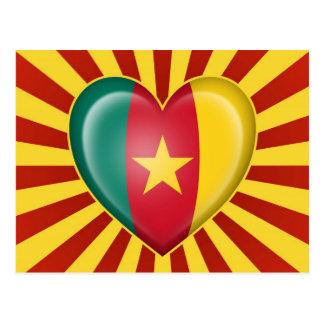 Cameroon Heart Flag with Sun Rays Postcard