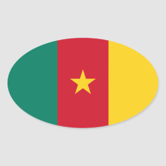 Cameroon National Flag Oval Stickers