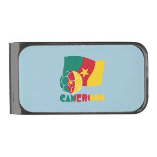 Cameroon Soccer Ball and Flag Gunmetal Finish Money Clip