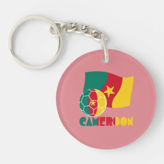 Cameroon Soccer Ball and Flag Keychain
