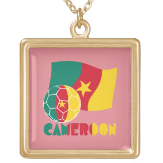 Cameroon Soccer Ball and Flag Square Pendant Necklace