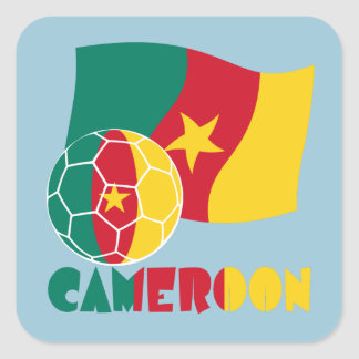 Cameroon Soccer Ball and Flag Square Sticker