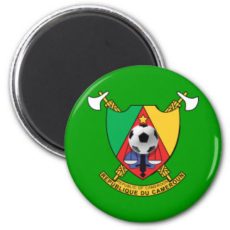 Cameroon soccer ball emblem coat of arms 2 inch round magnet