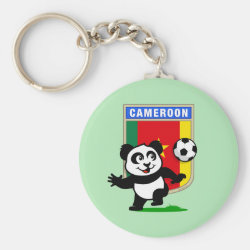 Basic Button Keychain with Cameroon Football Panda design