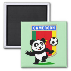 Square Magnet with Cameroon Football Panda design