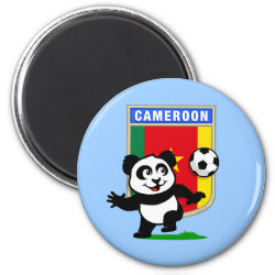 Round Magnet with Cameroon Football Panda design
