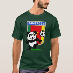 Men's Basic Dark T-Shirt with Cameroon Football Panda design