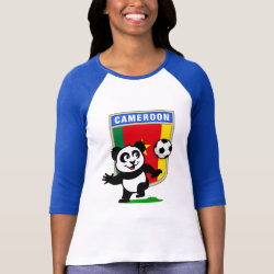 Ladies Raglan Fitted T-Shirt with Cameroon Football Panda design