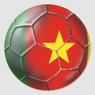 Cameroonian soccer ball flag of Cameroon Classic Round Sticker