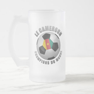 CAMEROUN SOCCER CHAMPIONS FROSTED GLASS BEER MUG
