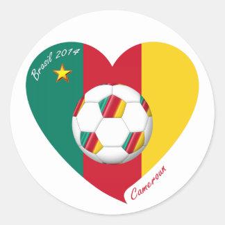 CAMERÚN FÚTBOL de equipo nacional 2014 y bandera Pegatina Redonda