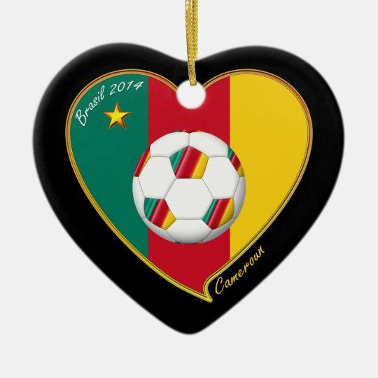 CAMERÚN FÚTBOL nacional del mundo 2014 y bandera Adorno Navideño De Cerámica En Forma De Corazón