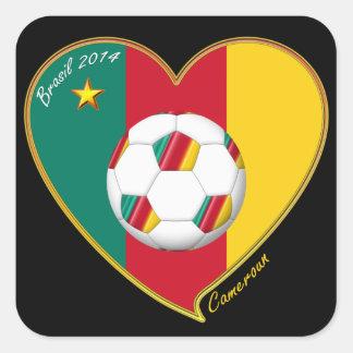 CAMERÚN FÚTBOL nacional del mundo 2014 y bandera Pegatina Cuadrada