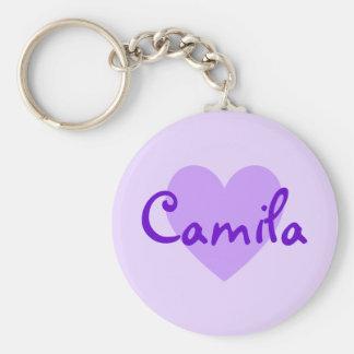 Camila en púrpura llavero redondo tipo pin