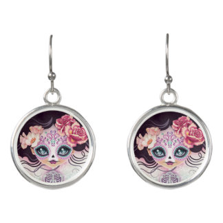 Camila Sugar Skull Day of the Dead Drop Earrings