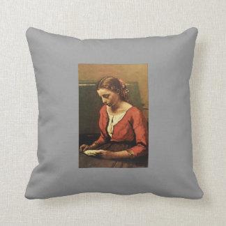 Camille Corot- Girl Reading Throw Pillows