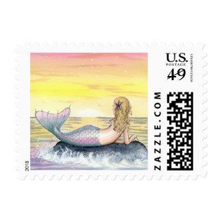 Camille Grimshaw Little Sunset Mermaid Stamp