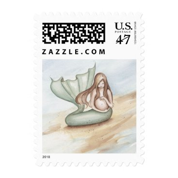 Beach Themed Camille Grimshaw Pregnant Forever Mermaid Stamp